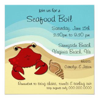 シーフードの沸騰ビーチのパーティの招待状 カード