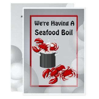 シーフードの沸騰夕食の招待状 カード