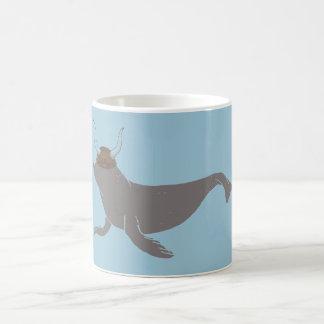 シールのバイキングのイラストレーション コーヒーマグカップ