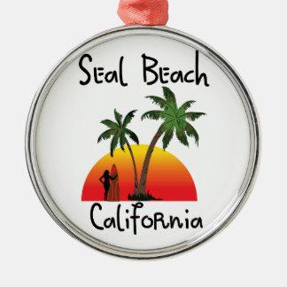 シールのビーチカリフォルニア メタルオーナメント