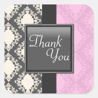 シールの-淡いピンク及び白いダマスク織の結婚式ありがとう スクエアシール