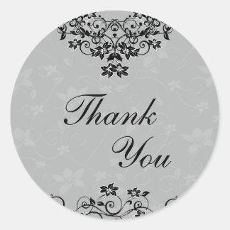 シール-スレートグレーのシャンデリアの花柄ありがとう ラウンドシール