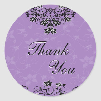 シール-ラベンダーの紫色のシャンデリアの花柄ありがとう ラウンドシール