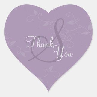 シール-ラベンダーの紫色のモノグラムの結婚式ありがとう ハート形シール・ステッカー