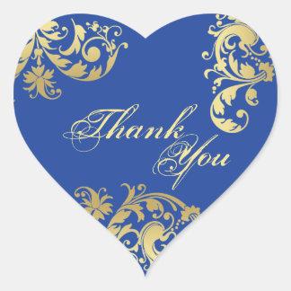 シール-ロイヤルブルー及び金ゴールドの花の結婚式ありがとう ハート形シール・ステッカー