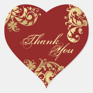 シール-赤及び金ゴールドの花の結婚式ありがとう ハートシール