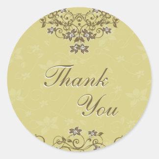 シール-金ゴールドの花柄のシャンデリアありがとう ラウンドシール