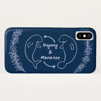 【ジュゴンとマナティー(薄紺)】 Dugong & Manatee (pale blue) iPhone X ケース