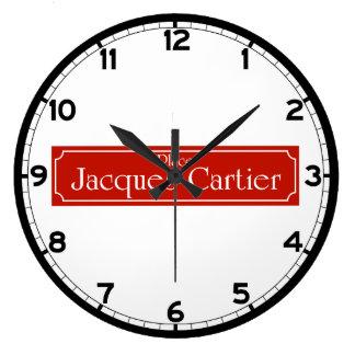 ジェイクスCartierのモントリオールの道路標識を置いて下さい ラージ壁時計