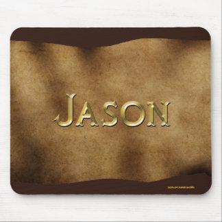 ジェイソンの名前入りな羊皮紙効果のマウスマット マウスパッド