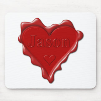 ジェイソン。 一流のジェイソンが付いている赤いハートのワックスのシール マウスパッド