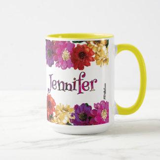 ジェニファーのカラフルなおもしろいの花柄 マグカップ
