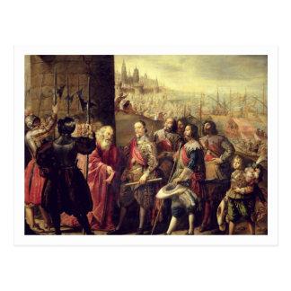 ジェノア1528年、c.1634-35 (canvaのレリーフ、浮き彫りの油 ポストカード