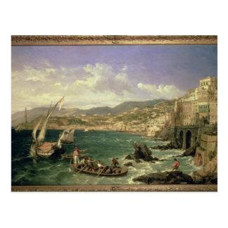 ジェノア1854年の眺め(キャンバスの油) ポストカード