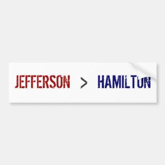 ジェファーソン、>、ハミルトン バンパーステッカー