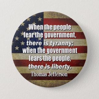 ジェファーソン: 自由対専制政治 缶バッジ