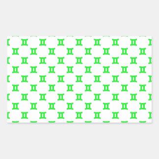 ジェミニパターン緑 長方形シール