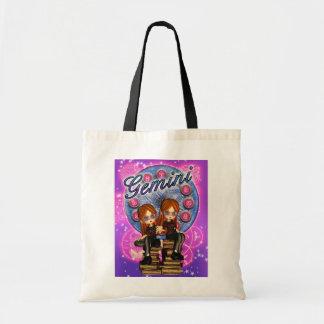 ジェミニ対の女の子が付いているかわいい(占星術の)十二宮図のバッグ トートバッグ
