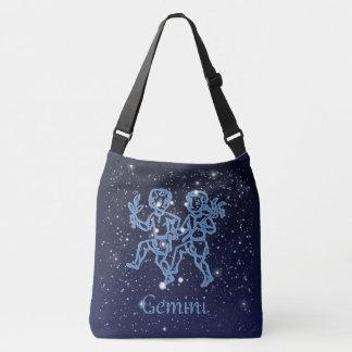 ジェミニ星座および星が付いている(占星術の)十二宮図の印 クロスボディバッグ