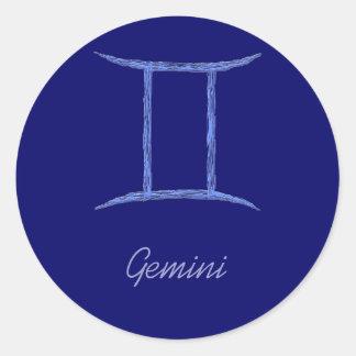 ジェミニ。 (占星術の)十二宮図の占星術の印 ラウンドシール