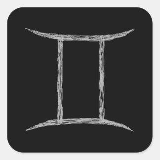 ジェミニ。 (占星術の)十二宮図の占星術の印。 黒 スクエアシール