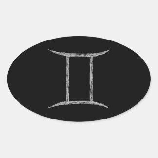 ジェミニ。 (占星術の)十二宮図の占星術の印。 黒 楕円形シール