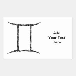 ジェミニ。 (占星術の)十二宮図の占星術の印。 黒 長方形シール