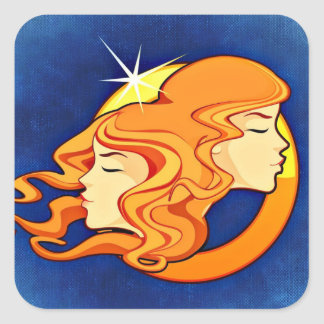 ジェミニ(占星術の)十二宮図の占星術の記号 スクエアシール