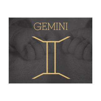ジェミニ(占星術の)十二宮図の印|のカスタムな背景 + 文字 キャンバスプリント