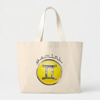 ジェミニ- (占星術の)十二宮図の印 ラージトートバッグ