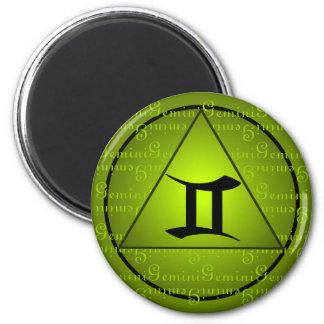 ジェミニ(占星術の)十二宮図の緑の三角形の巻き毛の原稿 マグネット
