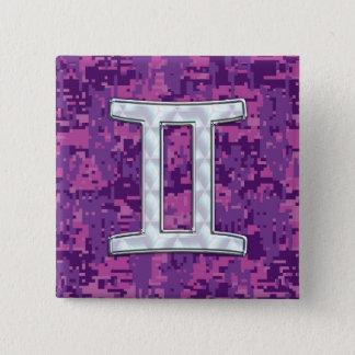 ジェミニ(占星術の)十二宮図の記号のデジタルカムフラージュのような真珠 缶バッジ