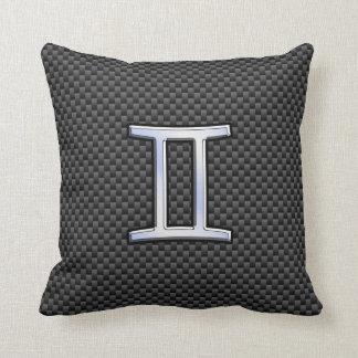 ジェミニ(占星術の)十二宮図の記号の木炭カーボン繊維のプリント クッション