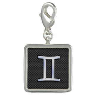 ジェミニ(占星術の)十二宮図の記号の木炭カーボン繊維のプリント チャーム
