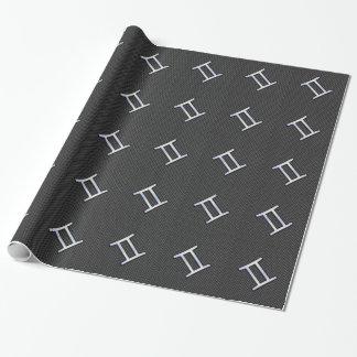 ジェミニ(占星術の)十二宮図の記号の木炭カーボン繊維のプリント ラッピングペーパー