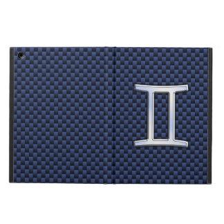 ジェミニ(占星術の)十二宮図の記号の濃紺カーボン繊維のプリント iPad AIRケース