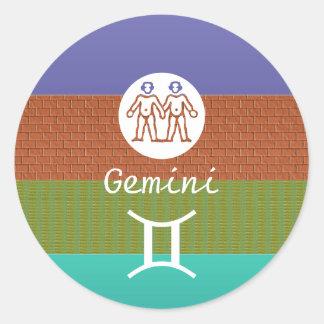 ジェミニ- (占星術の)十二宮図の記号 ラウンドシール