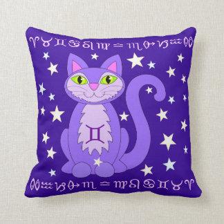 ジェミニ(占星術の)十二宮図猫は占星術の印の枕を主演します クッション