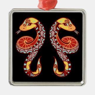ジェミニ(占星術の)十二宮図-ヘビ シルバーカラー正方形オーナメント