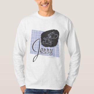 ジェリーの黒くおよび青の原稿 Tシャツ