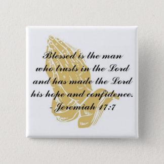 ジェレミアの17:7ボタン 5.1CM 正方形バッジ
