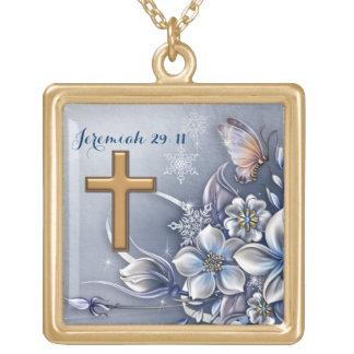 ジェレミアの29:11のネックレスによって磨かれる金ゴールドの終わり ゴールドプレートネックレス