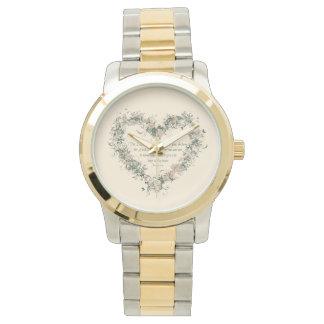 ジェレミアの29:11の花のハートの金ゴールドおよび銀製の調子 腕時計