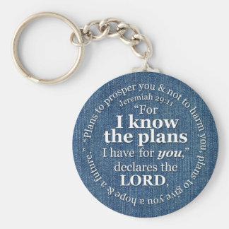 ジェレミアの29:11私は計画の聖書の詩のデニムを知っています キーホルダー