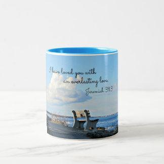 ジェレミアの31:3私は永遠に続くのとの愛しました ツートーンマグカップ