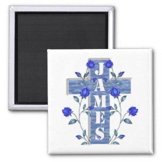 ジェームスの名前入りな十字の磁石 マグネット