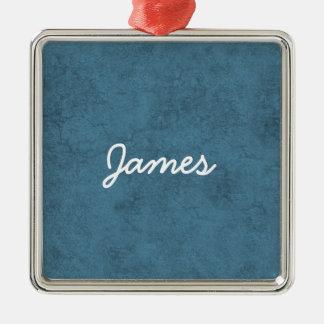 ジェームスの青および白い名前をカスタムするのギフトのコレクション メタルオーナメント