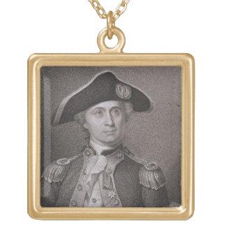 ジェームスBarto著刻まれるジョン・ポール・ジョーンズ(1747-92年) ゴールドプレートネックレス