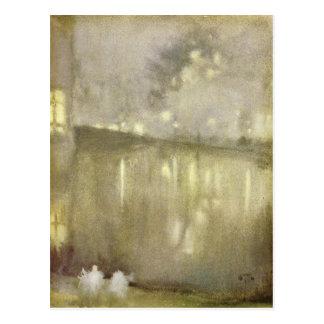 ジェームスMcNeill著ノクターンの灰色および金運河 ポストカード