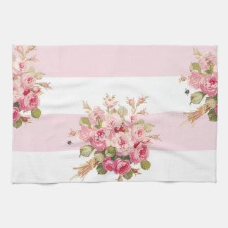 ジェーンのばら色の花束のシャクヤクのストライブ柄の台所タオル キッチンタオル